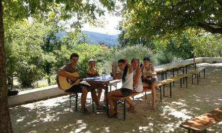 un groupe d'enfant joue à la guitare avec un animateur en colonie de vacances